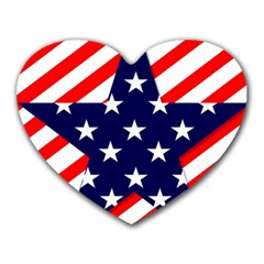 Patriotic Usa Stars Stripes Red Heart Mousepads by Celenk