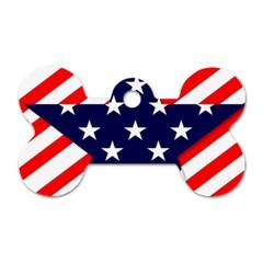 Patriotic Usa Stars Stripes Red Dog Tag Bone (Two Sides)