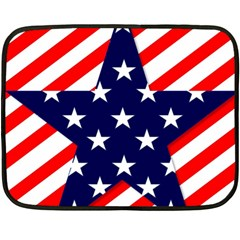 Patriotic Usa Stars Stripes Red Double Sided Fleece Blanket (Mini)