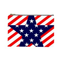 Patriotic Usa Stars Stripes Red Cosmetic Bag (Large)
