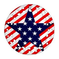Patriotic Usa Stars Stripes Red Ornament (Round Filigree)