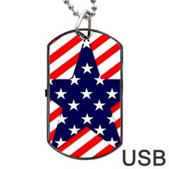 Patriotic Usa Stars Stripes Red Dog Tag USB Flash (Two Sides)