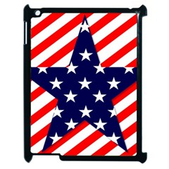 Patriotic Usa Stars Stripes Red Apple Ipad 2 Case (black) by Celenk