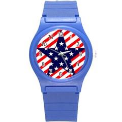 Patriotic Usa Stars Stripes Red Round Plastic Sport Watch (S)