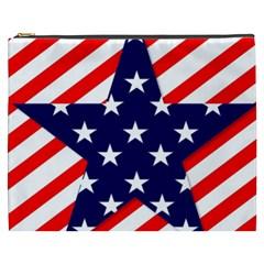Patriotic Usa Stars Stripes Red Cosmetic Bag (XXXL)