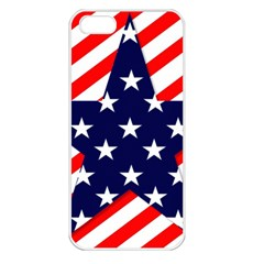 Patriotic Usa Stars Stripes Red Apple Iphone 5 Seamless Case (white) by Celenk