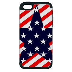 Patriotic Usa Stars Stripes Red Apple Iphone 5 Hardshell Case (pc+silicone) by Celenk