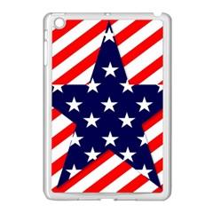 Patriotic Usa Stars Stripes Red Apple iPad Mini Case (White)
