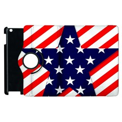 Patriotic Usa Stars Stripes Red Apple Ipad 3/4 Flip 360 Case by Celenk