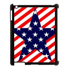 Patriotic Usa Stars Stripes Red Apple iPad 3/4 Case (Black)