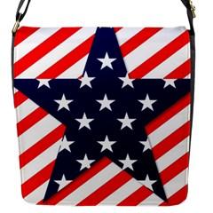 Patriotic Usa Stars Stripes Red Flap Messenger Bag (S)