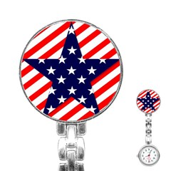Patriotic Usa Stars Stripes Red Stainless Steel Nurses Watch