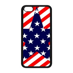 Patriotic Usa Stars Stripes Red Apple Iphone 5c Seamless Case (black) by Celenk