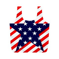 Patriotic Usa Stars Stripes Red Full Print Recycle Bags (M)