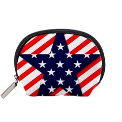 Patriotic Usa Stars Stripes Red Accessory Pouches (small)  by Celenk