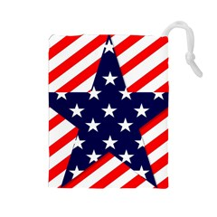 Patriotic Usa Stars Stripes Red Drawstring Pouches (large)  by Celenk