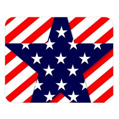 Patriotic Usa Stars Stripes Red Double Sided Flano Blanket (Large)