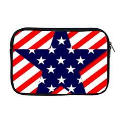Patriotic Usa Stars Stripes Red Apple MacBook Pro 17  Zipper Case