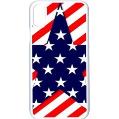 Patriotic Usa Stars Stripes Red Apple iPhone X Seamless Case (White)