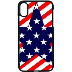 Patriotic Usa Stars Stripes Red Apple Iphone X Seamless Case (black) by Celenk