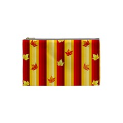 Autumn Fall Leaves Vertical Cosmetic Bag (small)  by Celenk