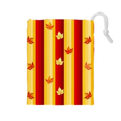 Autumn Fall Leaves Vertical Drawstring Pouches (large)  by Celenk