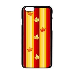 Autumn Fall Leaves Vertical Apple Iphone 6/6s Black Enamel Case by Celenk