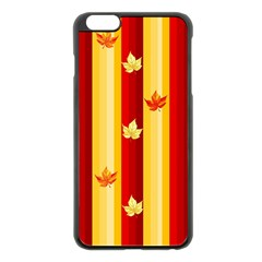 Autumn Fall Leaves Vertical Apple Iphone 6 Plus/6s Plus Black Enamel Case by Celenk