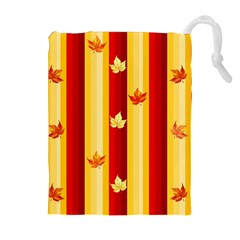 Autumn Fall Leaves Vertical Drawstring Pouches (extra Large) by Celenk