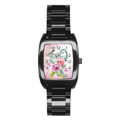 Flowers And Leaves In Soft Purple Colors Stainless Steel Barrel Watch
