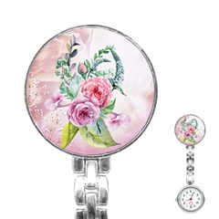 Flowers And Leaves In Soft Purple Colors Stainless Steel Nurses Watch by FantasyWorld7
