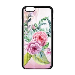 Flowers And Leaves In Soft Purple Colors Apple Iphone 6/6s Black Enamel Case by FantasyWorld7