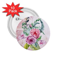 Flowers And Leaves In Soft Purple Colors 2 25  Buttons (10 Pack)  by FantasyWorld7