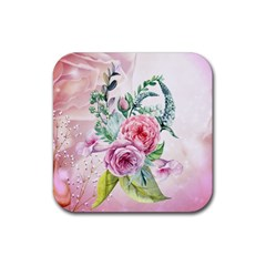 Flowers And Leaves In Soft Purple Colors Rubber Square Coaster (4 Pack)  by FantasyWorld7
