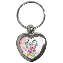 Flowers And Leaves In Soft Purple Colors Key Chains (heart)  by FantasyWorld7