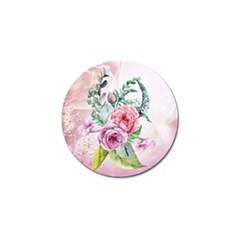 Flowers And Leaves In Soft Purple Colors Golf Ball Marker by FantasyWorld7