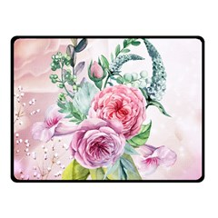 Flowers And Leaves In Soft Purple Colors Fleece Blanket (small) by FantasyWorld7