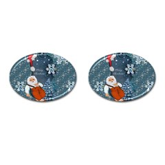 Funny Santa Claus With Snowman Cufflinks (oval) by FantasyWorld7