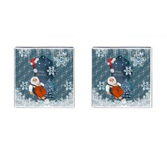 Funny Santa Claus With Snowman Cufflinks (square) by FantasyWorld7