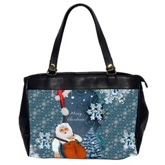 Funny Santa Claus With Snowman Office Handbags (2 Sides)  by FantasyWorld7