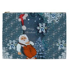 Funny Santa Claus With Snowman Cosmetic Bag (xxl)  by FantasyWorld7