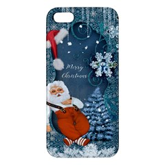 Funny Santa Claus With Snowman Apple Iphone 5 Premium Hardshell Case by FantasyWorld7