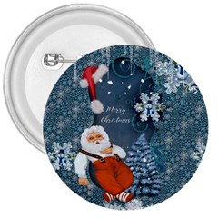 Funny Santa Claus With Snowman 3  Buttons by FantasyWorld7