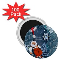 Funny Santa Claus With Snowman 1 75  Magnets (100 Pack)  by FantasyWorld7