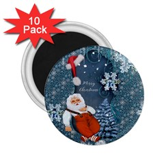Funny Santa Claus With Snowman 2 25  Magnets (10 Pack)  by FantasyWorld7