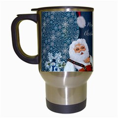 Funny Santa Claus With Snowman Travel Mugs (white) by FantasyWorld7