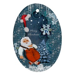 Funny Santa Claus With Snowman Oval Ornament (two Sides) by FantasyWorld7