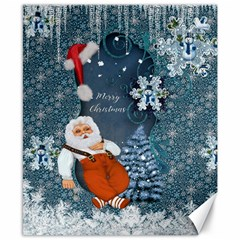 Funny Santa Claus With Snowman Canvas 8  X 10  by FantasyWorld7