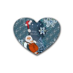 Funny Santa Claus With Snowman Heart Coaster (4 Pack)  by FantasyWorld7