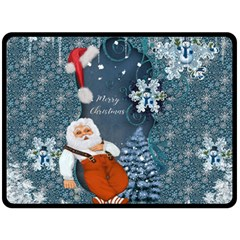 Funny Santa Claus With Snowman Double Sided Fleece Blanket (large)  by FantasyWorld7